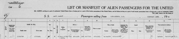"""Massachusetts, Boston Passenger Lists, 1891-1943,"" database with images, FamilySearch (https://familysearch.org/ark:/61903/1:1:23N3-4PX : 13 March 2018), Michael Greaves, 1938; citing Immigration, Boston, Suffolk, Massachusetts, United States, NARA microfilm publication T843 (Washington, D.C.: National Archives and Records Administration, n.d.); FHL microfilm 1,715,687."