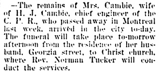 Vancouver Daily World, June 25, 1900, page 8, column 3.