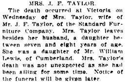 Vancouver Daily World, September 8, 1910, page 19, column 3.