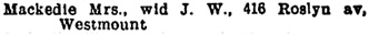Montreal City Directory, 1907-1908, page 1266, column 2.