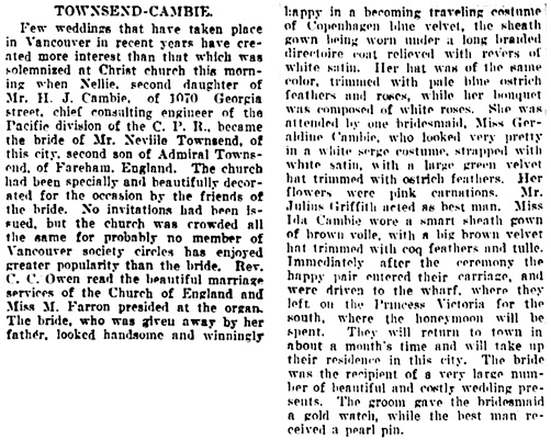 Vancouver Daily World, October 21, 1908, page 9, columns 2-3.