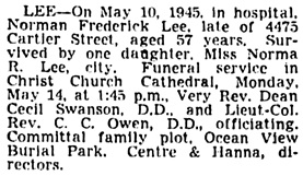 Vancouver Sun, May 12, 1945, page 19, column 3.