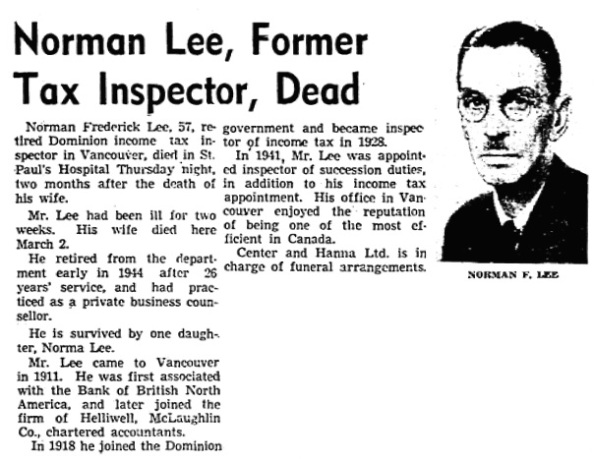 Vancouver Sun, May 11, 1945, page 3, columns 5-7.