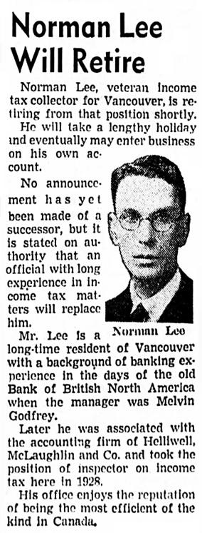 Vancouver Sun, December 22, 1943, page 17, column 5.