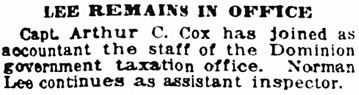 Vancouver Sun, December 18, 1919, page 10, column 6.