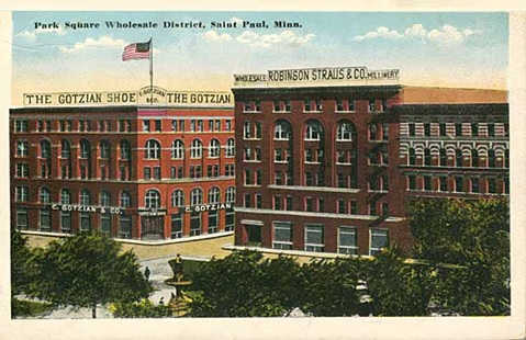 Park Square Wholesale District, Fifth and Wacouta, St. Paul, Minnesota; postcard, about 1915; St. Paul; Minnesota Historical Society; MR2.9 SP3.1R r11; http://collections.mnhs.org/cms/display.php?irn=10711424&return=q%3D%2522park%2520square%2522.