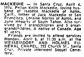 The Press Democrat (Santa Rosa, California), April 5, 1974, page 18, column 9.