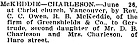 Vancouver Daily World, June 27, 1907, page 2, column 3.