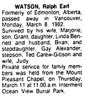 Edmonton Journal, March 12, 1982, page 14, column 9.