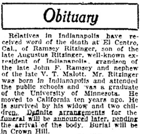 The Indianapolis Star (Indianapolis, Indiana), November 2, 1922, page 2, column 3.
