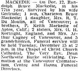 Vancouver Sun, December 14, 1953, page 30, column 4.