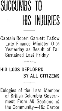 Victoria Daily Colonist, April 12, 1910, page 1, column 4 (headlines); https://archive.org/stream/dailycolonist19100412uvic/19100412#page/n0/mode/1up.