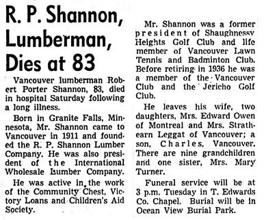 Vancouver Sun, August 18, 1958, page 44, column 7.