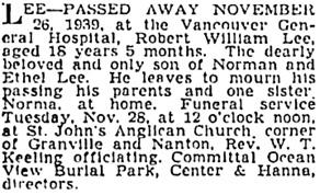 Vancouver Sun, November 27, 1939, page 14, column 1; https://news.google.com/newspapers?id=4zJlAAAAIBAJ&sjid=OYkNAAAAIBAJ&pg=6649%2C3749921 [link leads to column 2; death notice is in column 1].