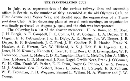 Transportation Club, History of Seattle from the Earliest Settlement to the Present Time, volume 2, by Clarence B. Bagley; Chicago, S.J. Clarke Publishing Company, 1916, page 579, https://archive.org/stream/bub_gb_nbupvBGRpwEC#page/n169/mode/1up.
