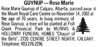 Calgary Herald, November 20, 2002, image 69, page D23, column 1.