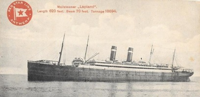 S.S. Lapland, postcard, early 1900s; https://picclick.co.uk/Belgium-Early-1900s-SS-Lapland-Unused-Red-Star-202300473290.html#&gid=1&pid=1.