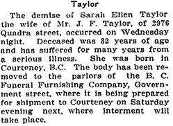 Victoria Daily Colonist, September 9, 1910, page 7, column 5; http://archive.org/stream/dailycolonist53236uvic#page/n6/mode/1up.