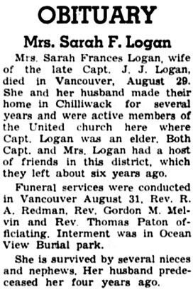 The Chilliwack Progress, September 11, 1946, page 16, column 3.