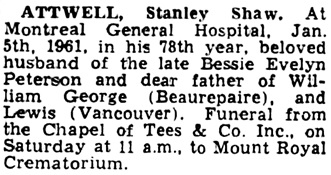 The Gazette (Montreal), January 7, 1961, page 39, column 6.