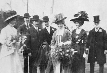 The wedding of Mr. and Mrs. Neville F. Townsend [1908]; British Columbia Archives, Item D-06843; https://search-bcarchives.royalbcmuseum.bc.ca/wedding-of-mr-and-mrs-neville-f-townsend. [tentative identification: L-R: Geraldine Cambie; Julius Griffith; Neville Townsend; unidentified; Ida Cambie; Henry Cambie.]