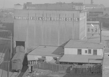 Vancouver Ice and Cold Storage Co. Ltd., 1923, detail from View of Vancouver waterfront from the foot of Columbia Street, Vancouver City Archives, PAN N229; https://searcharchives.vancouver.ca/view-of-vancouver-waterfront-from-foot-of-columbia-street.