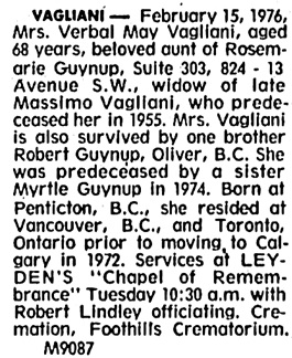 Calgary Herald, February 16, 1976, page 35, column 6.