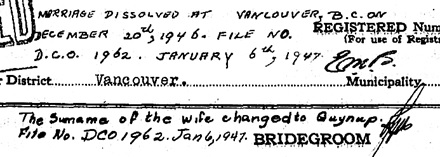 """British Columbia Marriage Registrations, 1859-1932; 1937-1938,"" database with images, FamilySearch (https://familysearch.org/ark:/61903/1:1:JD8X-WTV : 11 March 2018), Victor Martin and Vesbal [sic] Guynup, 04 Sep 1929; citing Vancouver, British Columbia, Canada, British Columbia Archives film number B13757, Vital Statistics Agency, Victoria; FHL microfilm 2,074,553."