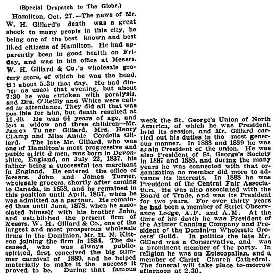 Toronto Globe, October 28, 1901, page 3, column 1.