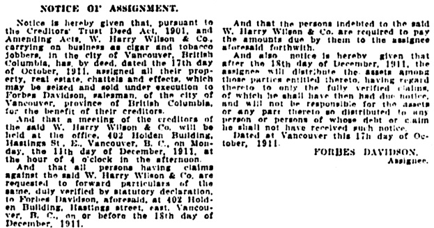 Vancouver Daily World, November 16, 1911, page 21, column 6.