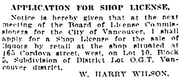 Vancouver Daily World, December 4, 1913, page 17, column 4.