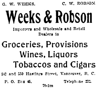 Vancouver Daily World, January 18, 1897, page 8, column 4.