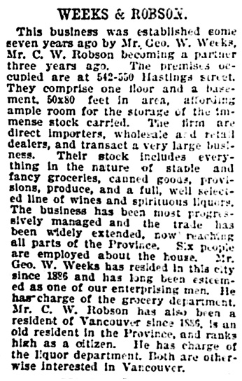 Vancouver Daily World, June 20, 1896, page 24, column 2.