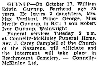 Edmonton Journal, October 20, 1952, page 24, column 7.