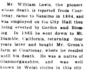 Nanaimo Daily News, January 7, 1916, page 1, column 6.