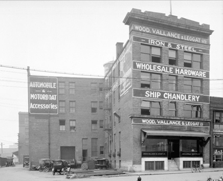 Wood, Vallance and Leggat Ltd. wholesale hardware building at 573 Carrall Street, September 17, 1921; Vancouver City Archives, Bu N342; http://searcharchives.vancouver.ca/wood-vallance-and-leggat-ltd-wholesale-hardware-building-at-573-carrall-street.