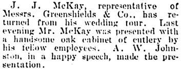 Vancouver Daily World, June 26, 1902, page 1, column 6.