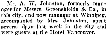 Vancouver Daily World, August 26, 1905, page 5, column 3.