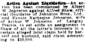Vancouver Daily World, September 6, 1921, page 9, column 5.