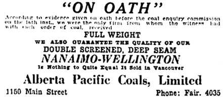 Vancouver Daily World, March 31, 1921, page 4, columns 4-5.