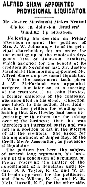 Vancouver Daily World, January 25, 1919, page 23, column 7.