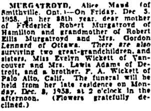 Toronto Globe and Mail, December 6, 1958, page 43, column 4.