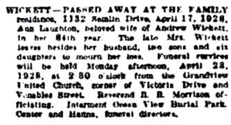 Vancouver Sun, April 21, 1928, page 20, column 2 [best available copy].