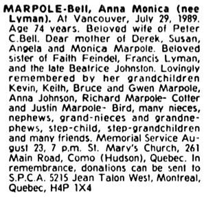 The Gazette (Montreal), August 21, 1989, page 3, column 3.
