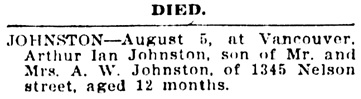 Vancouver Daily World, August 6, 1908, page 2, column 5.