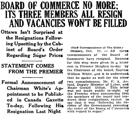 Toronto Globe, October 23, 1920, page 1, column 8 (portion of article).