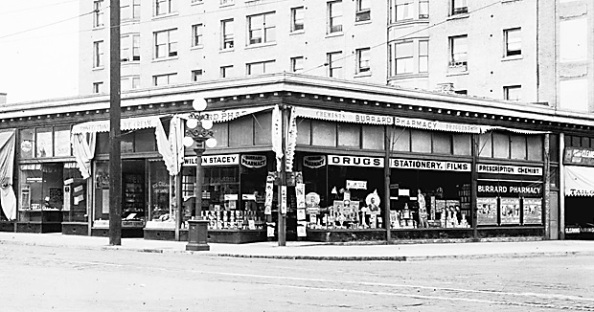 Burrard Pharmacy [Wilson Stacey], 1003 Robson Street, about 1926, [detail]; Vancouver City Archives, CVA 99-1522; https://searcharchives.vancouver.ca/burrard-pharmacy-1003-robson.