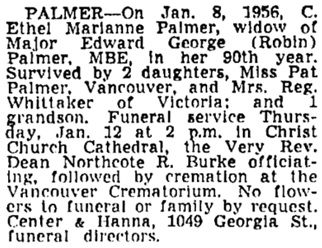 Vancouver Sun, January 9, 1956, page 22, column 4.
