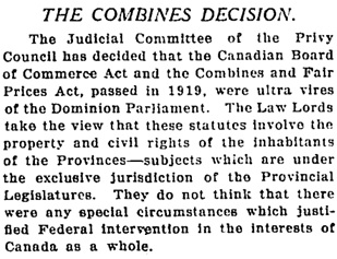 Toronto Globe, November 14, 1921, page 4, column 2 (portion of article).