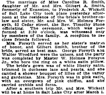 Chicago Tribune, January 25, 1910, page 8, column 2.